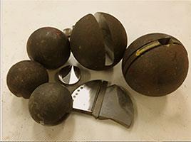 water cut grinding ball